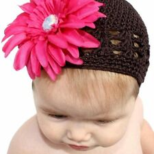 Headbandz Crocheted Baby/ Toddler Stretchy Brown Kufi Hat and Pink Flower Clip