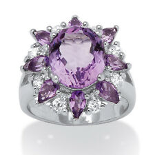 6.70 TCW Oval-Cut Genuine Purple Amethyst and White Topaz Flower Ring in Sterlin