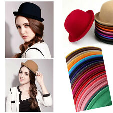 Women Men Colors Trendy Vintage Bowler Top Hat Roll Brim Derby Fedora Dome Cap
