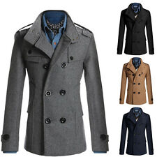 Smart Mens Slim Fit Double Breasted Trench Windbreaker Coat Pea Coat Jacket XS-L