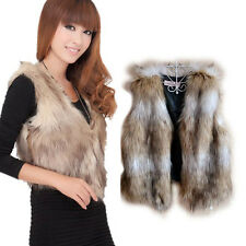 Women Pretty Faux Fur Shaggy Sleeveless Vest Coat Outwear Jacket Short Waistcoat