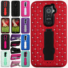 For LG G2 4G LTE HYBRID IMPACT KICK STAND Dazzling Diamond Case Cover Accessory