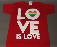 Gay Pride Wear It With Pride Love Is Love Red Tee Shirt Rainbow Flag Brand New