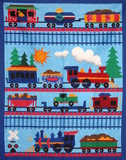 *Choose* allover or large panel Choo Choo Railroad Train cotton quilting fabric