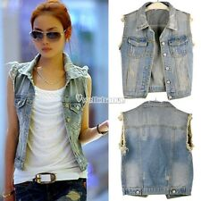 New Fashion Girl's Women's Vintage Boho Girls Biker Vest Denim Vest Jeans Blue