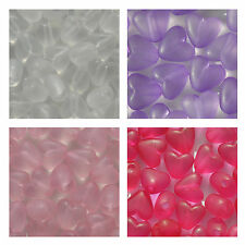 100 Heart Frosted Puff Pony Beads Plastic 10 x 9mm CHOOSE COLOUR