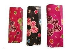 Bright Bold Funky Flower Print Leather Reading Glasses Case Black Red or Pink