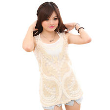 Hot Sale New Womens Sheer Embroidery Floral Lace Crochet Tank Top T-Shirt Blouse