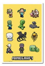 Framed Minecraft Characters Poster Ready To Hang - Choice Of Frame Colours
