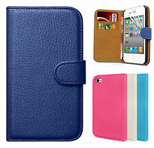New Genuine Real Leather Wallet Case Flip Cover Protector For APPLE iPhone 4 4S