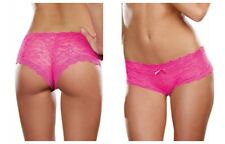 LOW RISE PINK CHEEKY HIP HUGGER STRETCH LACE PANTY SATIN BOW TRIM Size S-XL New
