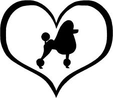 """Poodle Show Dog Heart - 4.3"""" x 3.75"""" - Choose Color - Decal Sticker #1501"""