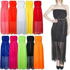 New Womens Ladies Strapless Bandeau Plain Chiffon Summer Maxi Dress Size 8-10-14