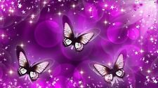 Butterfly's Purple  Stars Girls Room Unique Wall Art Poster personalized Free