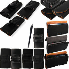 New Leather Belt Clip Mobile Holder Case Cover For Various Phones + Stylus