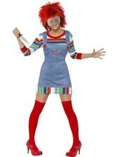 NEW Chucky Ladies Halloween Fancy Dress Costume Horror Doll Outfit Mask w/ Hair