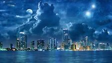 City at night Moon sky print Unique  home decor LIGHT SWITCH PLATE