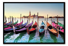 Framed Venice Gondolas Poster Ready To Hang - Choice Of Frame Colours