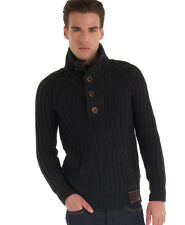 New Mens Superdry Trident Henley Black Grey