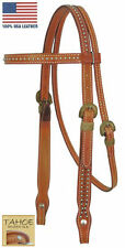 Tahoe Tack Mesquite Rawhide Full Horse Browband Headstall USA Leather London Tan