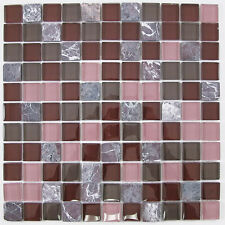Dark Red and Pink Glass and Stone Mosaic Tile for Bathroom, Kitchen, Backsplash