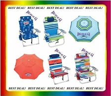 2 Tommy Bahama Backpack Cooler Beach Chairs PICK YOUR COLORS + Beach Umbrella