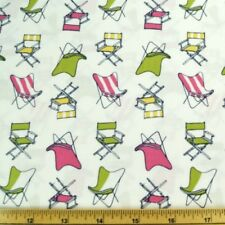 Garden Party Lawn Chairs On White 100% Cotton Fabric
