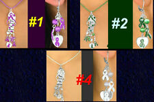 Awareness PURPLE GREEN ORANGE WHITE Flops Cancer  Alzheimer Leukemia Jewelry Set