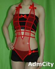 Adjustable Halter Fishnet G-String Teddy Bow Tie Front and Back Red One Size
