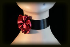 Goth Gothic Victorian Can Can Burlesque DARK RED Satin Rose Choker Necklace