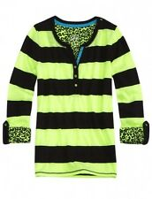 NWT Justice Girls Neon Lime & Black Stripe Leopard Henley Tee UPick Size NEW