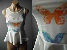 Colorful Butterfly Pattern White Sheer Mesh Back Peplum Top 71 mv Blouse S M L