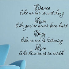Dance Love Sing Live DIY Removable Vinyl Wall Quote Sticker Decal Art Home Decor