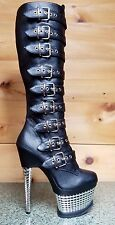 Pleaser Illusion 2048 Black Silver Chrome Platform Multi Buckle Biker Knee Boot