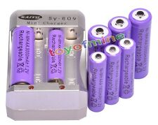 4x AA 3000mAh + 4x AAA 1800mAh Rechargeable 1.2V Ni-MH Pruple Battery +Charger