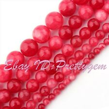 """Round Smooth Candy Red Jade Gemstone Jewelry Making Beads 15"""" 6mm 8mm 10mm 12mm"""