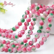 """Round Smooth Candy Multicolor Jade Gemstone Spacer Beads 15"""" 6mm 8mm 10mm 14mm"""