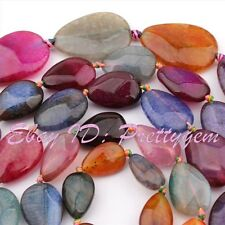 """Drop Shape Faceted Cracked Multicolor Agate Onyx Gemstone Loose Beads Strand 15"""""""