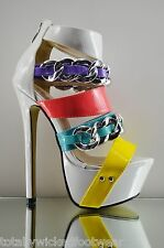 Red Kiss Shopaholic White Multi Color Chain Strap Platform Sexy Design Shoe 6-11
