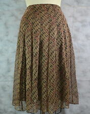 Charter Club Women Brown Pleated Skirt MSRP$89.00 100% Silk (w/Polyester Lining)