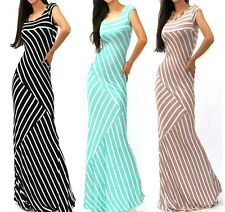 Asymmetric Mixed Stripe Fitted Jersey Knit Flare Long Summer Maxi Dress S M L
