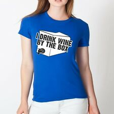 I DRINK WINE alcohol college boxed funny drinking tee WOMENS Tshirt ROYAL DT0244
