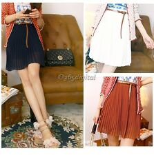 Women Girls Retro Sexy Pleated Mini Skirts Chiffon Waist Shorts Dress&Belt
