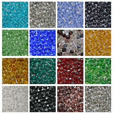 400x4mm or 200x6mm Crystal Glass Bicone Beads Jewellery Making CHOOSE COLOUR