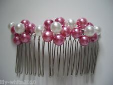 Bridal Hair Comb - White & Silver Hair Comb - Pink & White Hair Comb - Put Ups