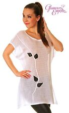 Ladies Thin See Through Crochet  Knit Eco Leather Leaf Print Top Tunic 10-14 085