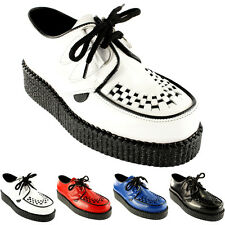 Ladies Underground Creepers Wulfrun Leather Lace Up Retro Punk Shoes All Sizes