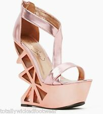 Privileged Disco Nights Rose Pink Chrome Metallic Geo Cut Out Heel Wedge Shoe