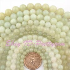 5.5,8,10,12,14MM ROUND SMOOTH HUA SHOW JADE GEMSTONE LOOSE BEADS STRAND 15""