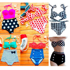 Women's Retro Swimsuit Polka Dot High Waisted Bikini Swimwear Bathing Suit S-XL